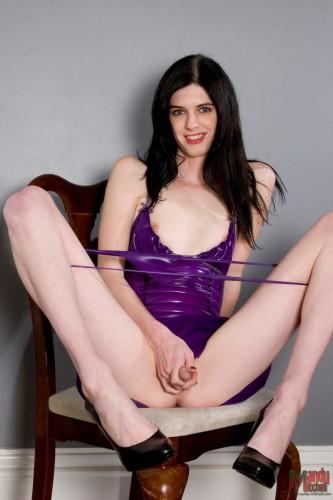 ts mandy mitchell in purple latex dress